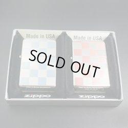 画像1: zippo ペア チェッカー柄 両面 ピンク/ブルー