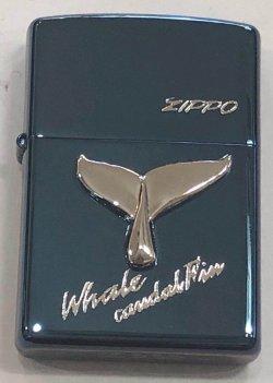 画像2: zippo  ホエール クジラの尻尾 ブル-チタン 2001年製造