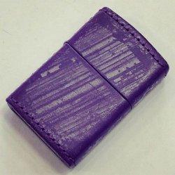 画像1: zippo 革巻き 紫 2018年製造